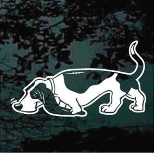 Basset Hound Sniffing Cartoon Window Decals
