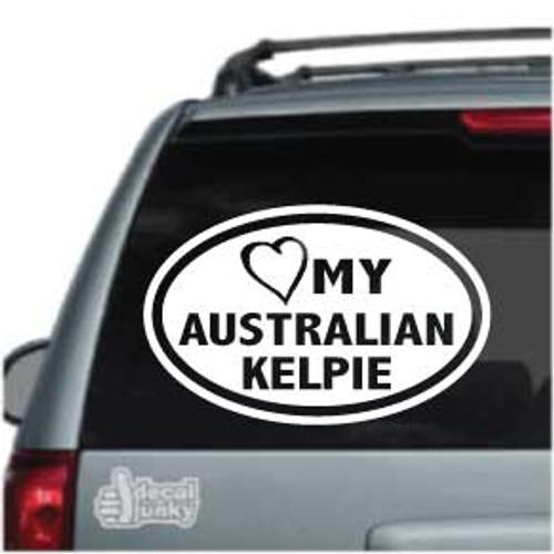 Heart My Australian Kelpie Oval Car Window Decal