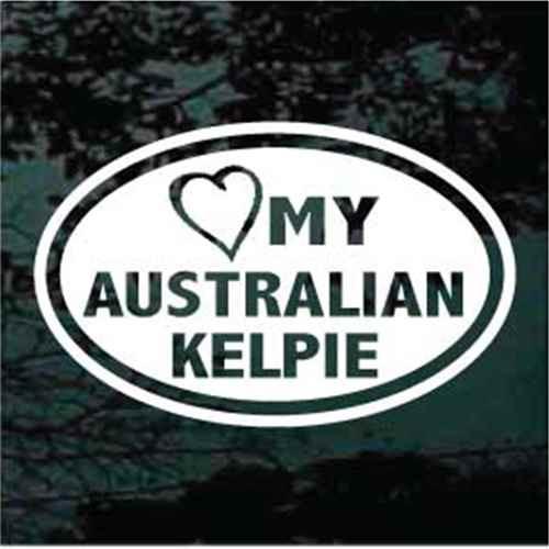 Heart My Australian Kelpie Oval Decal