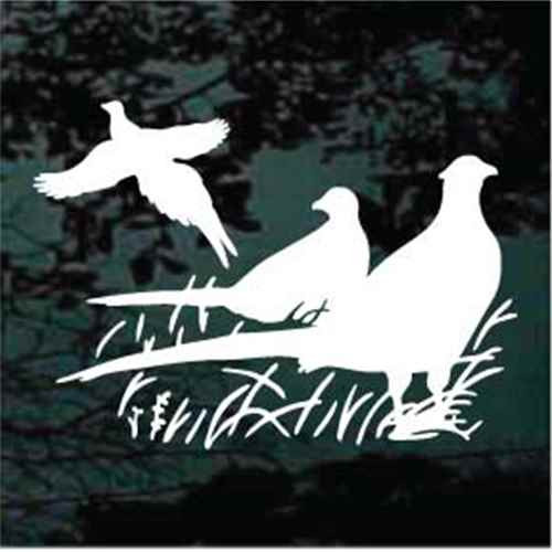 Three Pheasants In The Grass Window Decal