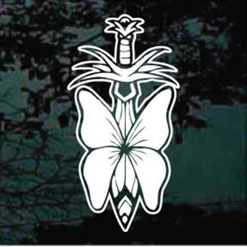 Butterfly On Sword Window Decal