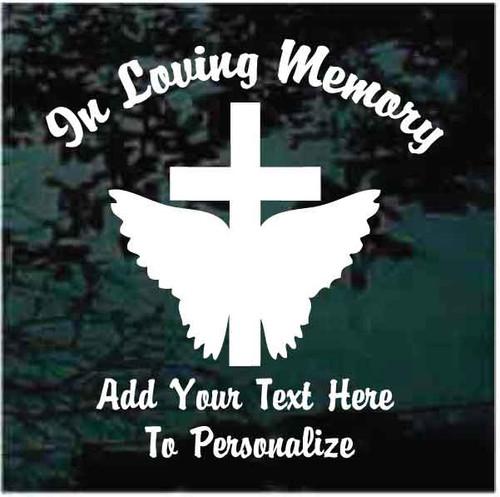 Angel Wings Cross Memorial Window Decals