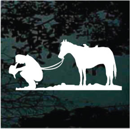 Cowboy Praying With Horse Decals