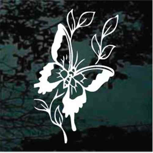 Decorative Butterfly With Leaves Window Decals