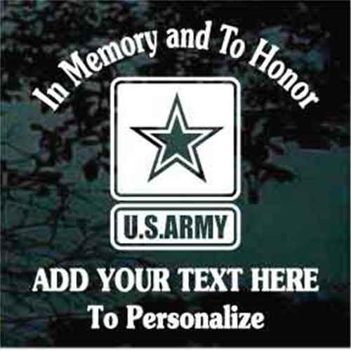 Army Veteran Memorial Window Decal