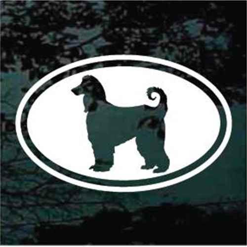 Classic Afghan Hound Dog Oval Decal