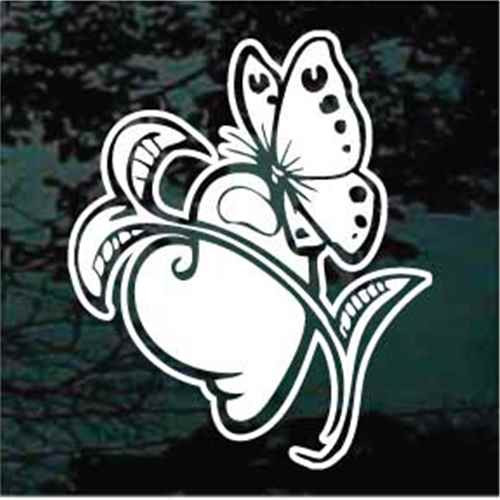 Bleeding Heart Butterfly Window Decals