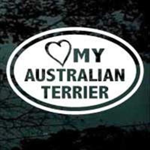 Love My Australian Terrier Oval Window Decal