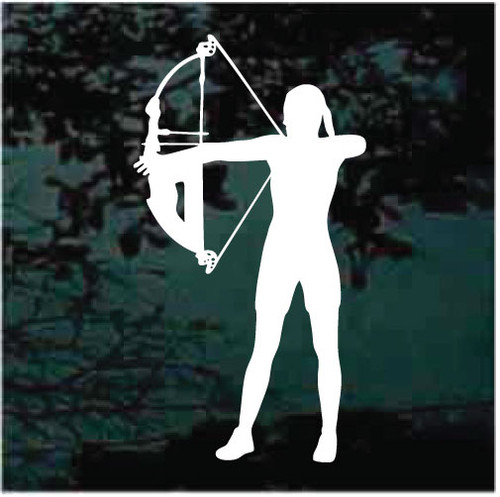 Girl Hunting With Bow & Arrow Window Decals