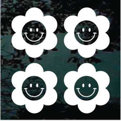 Flower Smiley Set of Four 3''