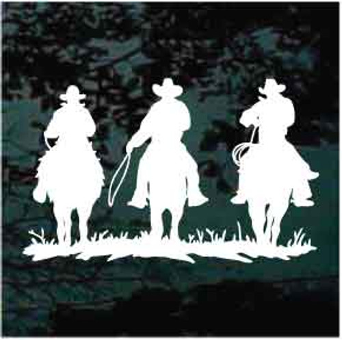 3 Cowboys Riding Window Decals