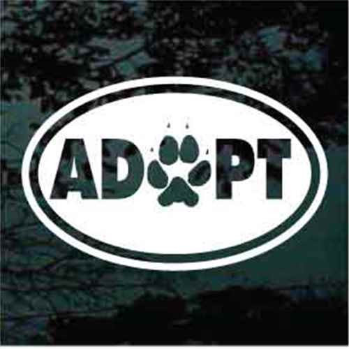 Adopt Oval With Paw Print Window Decal