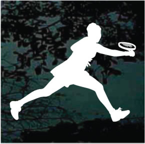 Lady Playing Tennis Window Decal