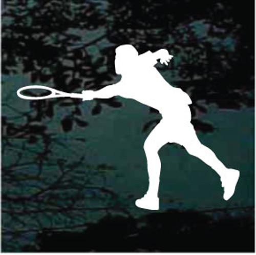 Left Handed Tennis Player Window Decal