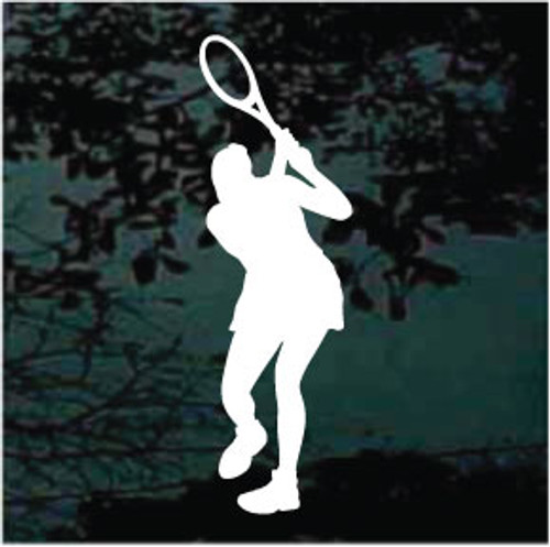 Girl Playing Tennis Window Decal