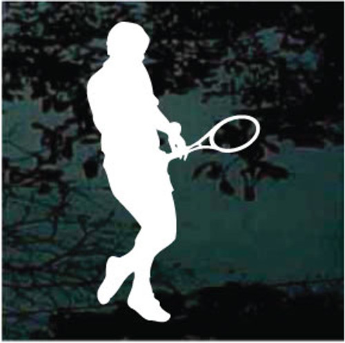 Man Playing Tennis Window Decal