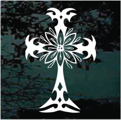 Tribal Flower Christian Cross Window Decals