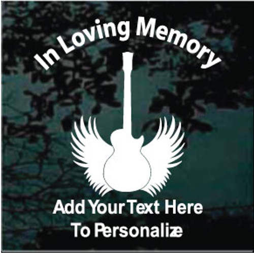 Electric Guitar With Angel Wings Memorial Decals