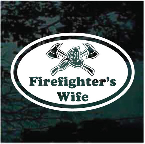 Firefighter's Wife Oval Window Decals