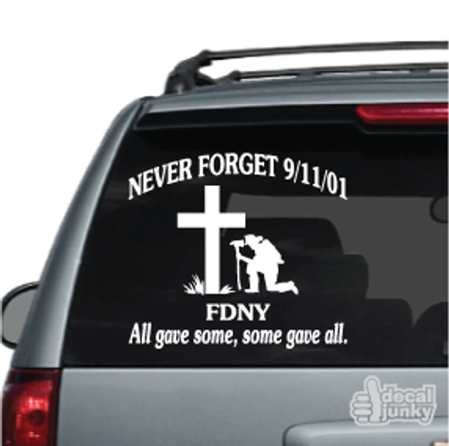Firefighter Praying Cross Never Forget 911 Car Decals
