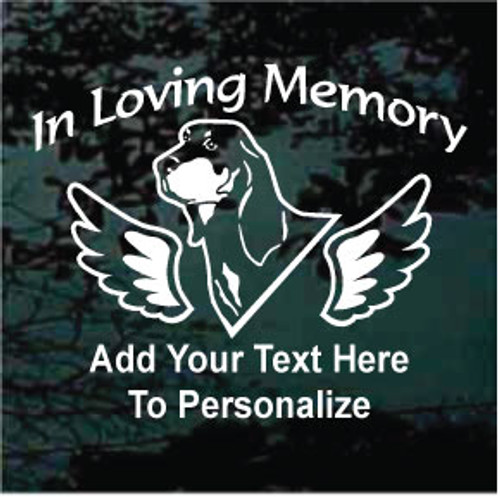 Coonhound Hunting Dog Memorial Window Decal