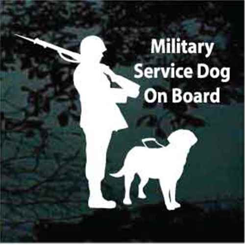 Military Soldier Labrador Service Dog On Board Decals