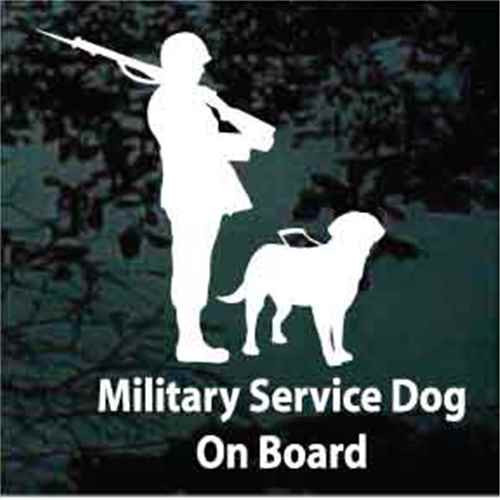 Military Service Dog on Board Labrador Retriever Window Decal