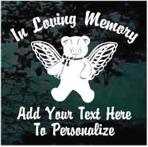 Teddy Bear With Wings Memorial Decals