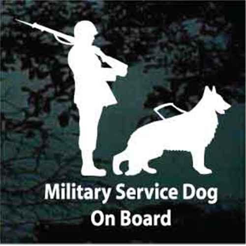 Military Service Dog On Board German Shepherd Window Decal
