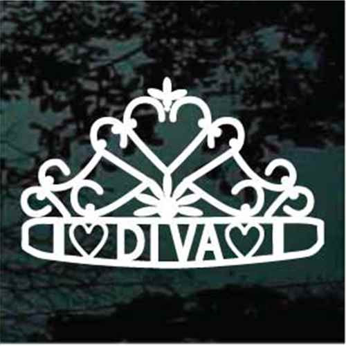 Decorative Heart Diva Tiara Car Window Decals
