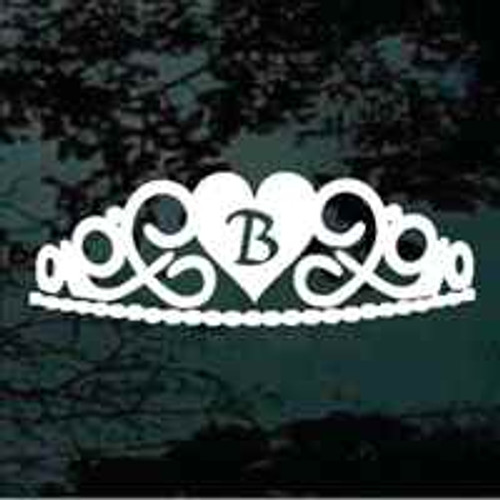 Heart Tiara Monogram Window Decals