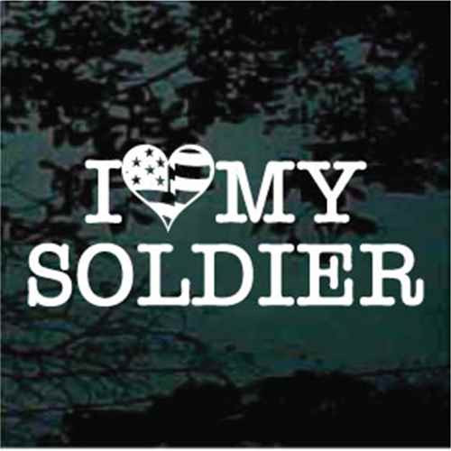 I Love My Soldier Heart Flag Window Decal