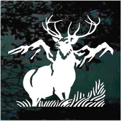 Elk Mountain Scene Window Decals
