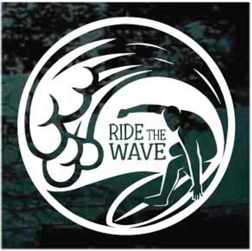 Ride The Wave Surfing Window Decal