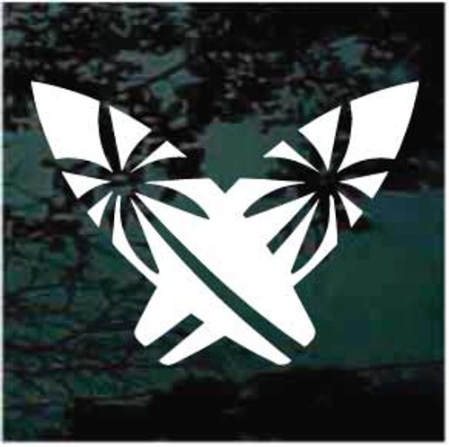 Cool Surfboards With Palm Trees Window Decal