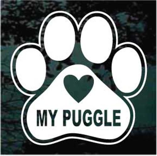 Love My Puggle Paw Print Window Decal