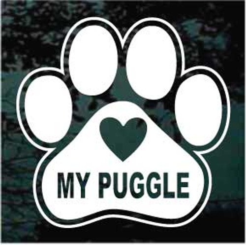 Love My Puggle Paw Print Decals