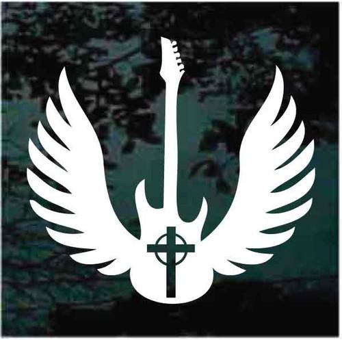 Angel Wings Celtic Cross Guitar Window Decals