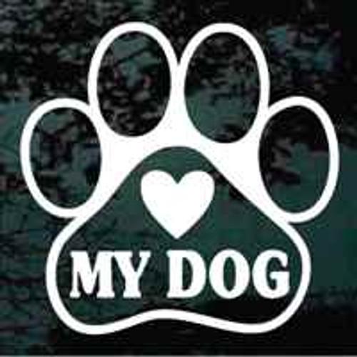Heart My Dog Paw Print Window Decal