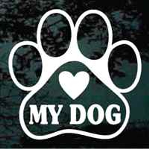 Heart My Dog Paw Print Window Decal