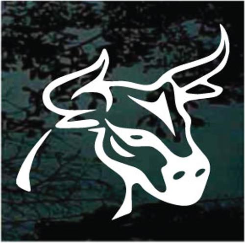 Bull Mascot Outline Window Decals