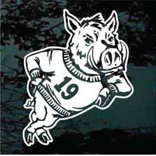 Wild Boar Mascot With Jersey Number Window Decals
