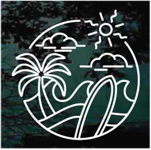 Surfboard Logo Icon Window Decal