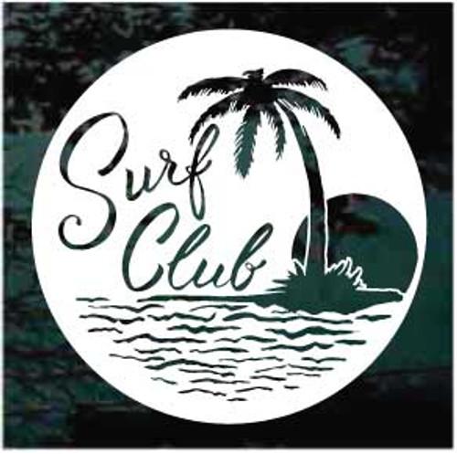 Round Surf Club With Palm Tree Window Decal
