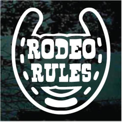 Rodeo Rules Horseshoe Window Decal