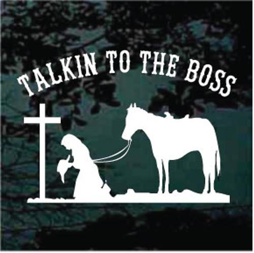 Cowgirl Praying Cross Talkin To The Boss 02