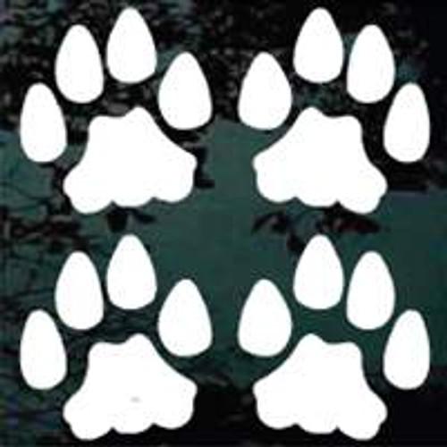 Set Of 4 Cat Paw Prints Window Decals