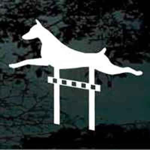 Doberman High Jump Window Decal