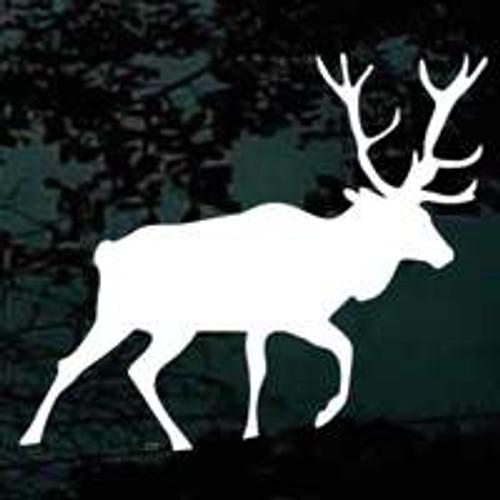 Bull Elk Fleeing Window Decal