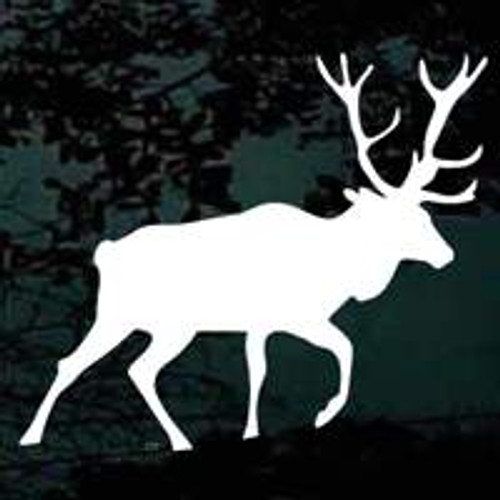 Bull Elk Fleeing Window Decals